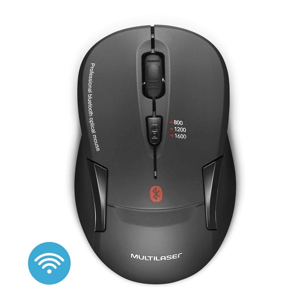 Mouse Bluetooth Óptico Led 1600 Dpis Mo254 Multilaser